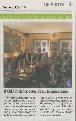 El CAEI. inicia los actos de su 25 aniversario
