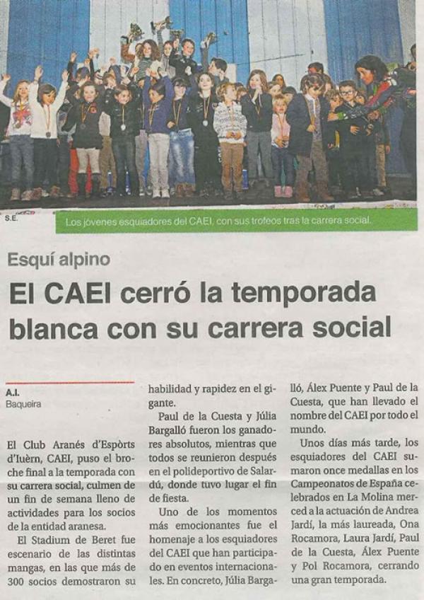 El CAEI. cerró la temporada blanca con su carrera social