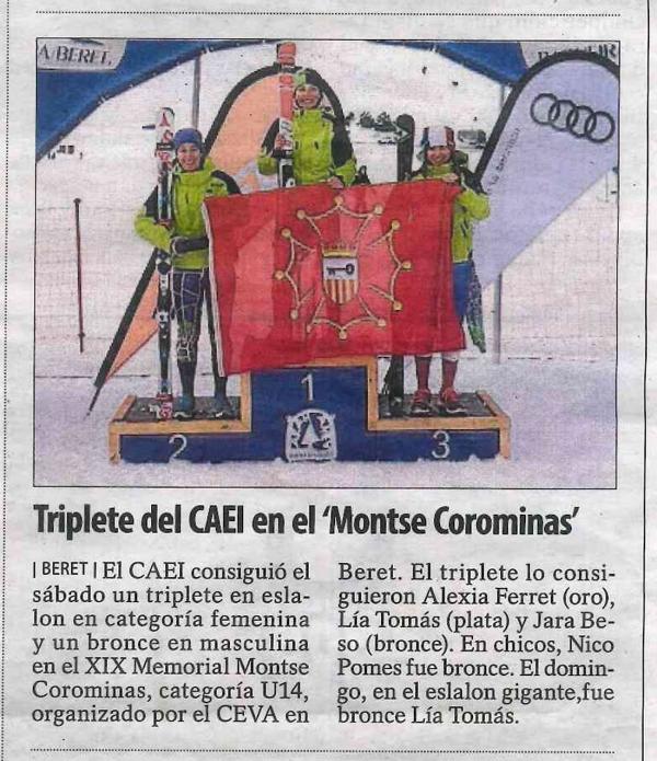 "Triplete del CAEI en el ""Montse Corominas"""